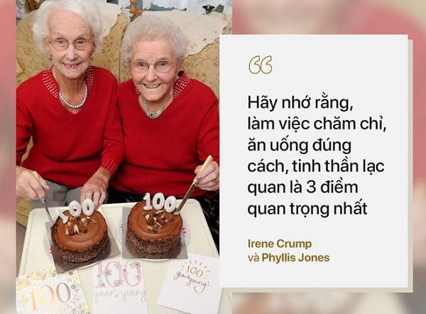 Bí quyết sống thọ của Hai chị em sinh đôi Irene Crump và Phyllis Jones