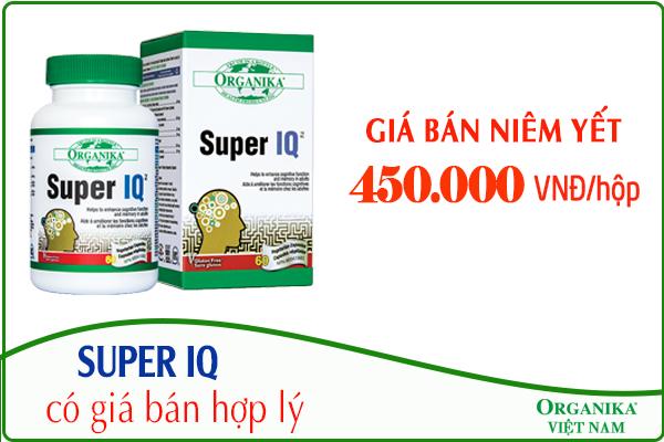 Thuốc bổ não Super IQ được bán với giá niêm yết 450.000 VNĐ/hộp/60 viên
