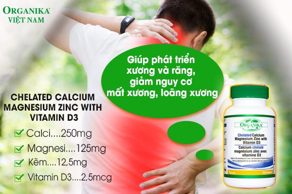 Organika Chelated Calcium Magnesium Zinc With Vitamin D3 - Hỗ trợ phát triển xương và răng, giảm nguy cơ mất xương, loãng xương